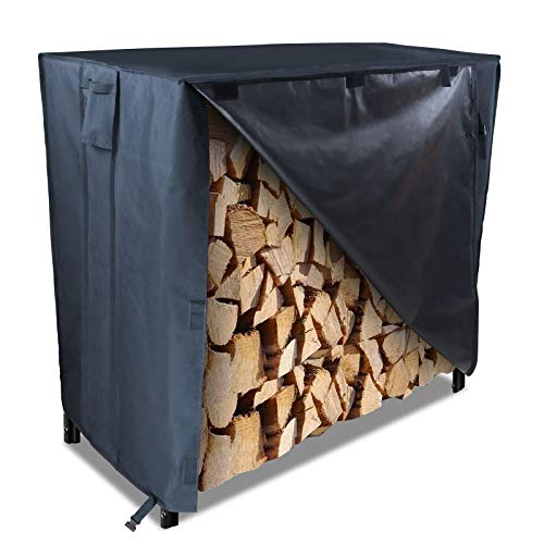 Saking Log Rack Cover 4FT 600D Heavy Duty Waterproof PVC Firewood Covers