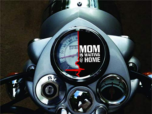 ISEE 360 Glass Mom is Waiting at Home Car Bike Sticker, 0.03 x 2.75 x 1.96 Inches, Black White Red