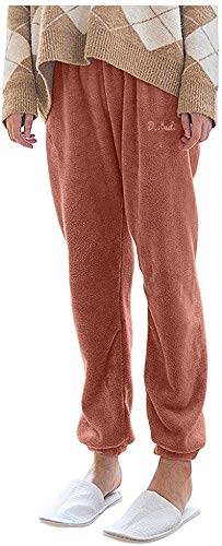 Smileyth Women Lounge Pants Ladies Solid Color Elastic Waist Casual Loose Fall Winter Thick Warm Comfortable Pajama Pants Cozy Fuzzy Shaggy Trousers