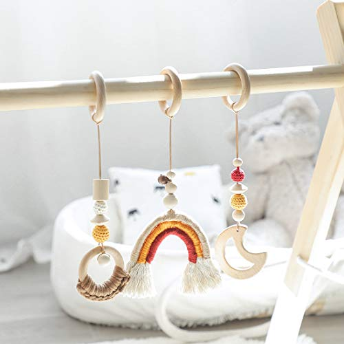 let's make Baby Montessori Juego de Juguetes de Madera para Gimnasio, Juego de 3 Piezas Colgante Ecológico Ambiental Rainbow Juguetes Sensoriales Infantiles (Color Neutro 0-12 Meses)
