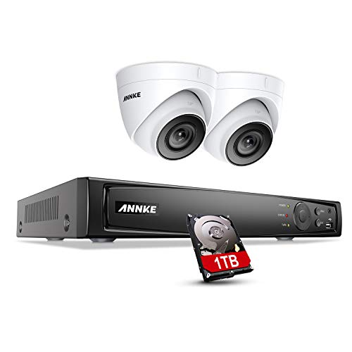 ANNKE 8CH 4K Surveillance Camera System with 2X 5MP HD IP Camera H.265 + POE NVR Video Surveillance 1TB Hard Drive 30m EXIR Night Vision Onvif for Indoor Use on Mobile Phone, Browser and PC Available