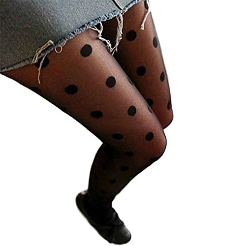 Sanwood Schwarz Sexy Spitze Lace Strumpfhosen Socken Strümpfe Leggings mit Dot