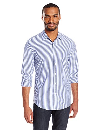 Goodthreads Men's Slim-Fit Long-Sleeve Banker Striped Shirt, Blue, Large