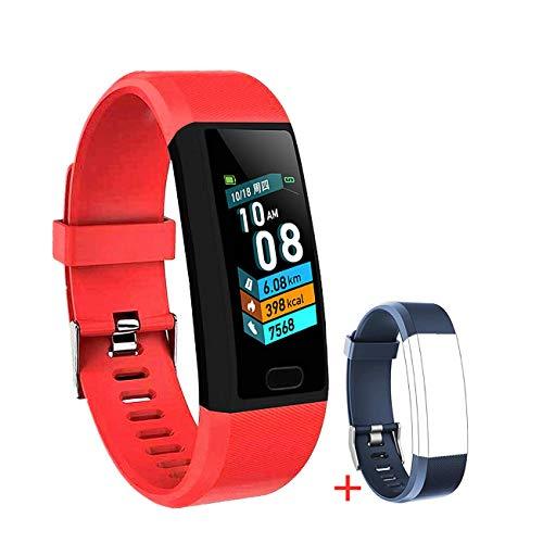LIYINGKEJI Pulsera de Actividad, smartwatch, Monitor de frecuencia cardíaca y Reloj Deportivo de presión Arterial Reloj Inteligente GPS a Prueba de Agua IP67 podómetro Reloj Deportivo (Rojo)