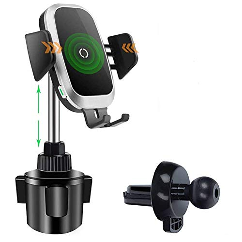 Wireless Car Charger Getränkehalter für Telefon, 2 in 1 Auto Montieren Automatische Sensor Becherhalter mit Entlüftung Sklemme kompatibel mit iPhone 11 Pro XS Max XR X, Samsung S9 Note8