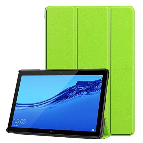Funda De Cuero Ultra Delgada De La Pu Para Huawei Mediapad T5 De 10 Pulgadas, Cubierta Del Soporte De Tableta Para Huawei Mediapad T5, Funda De Tableta Huawei Despertador / Sueño Automático Verde
