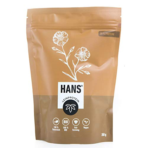 Hanf v. HANS bio LEIN Proteinpulver mit 35% Eiweiß OHNE Zusatzstoffe pflanzlich vegan glutenfrei laktosefrei Eiweißpulver Hanfpulver aus BAYERN