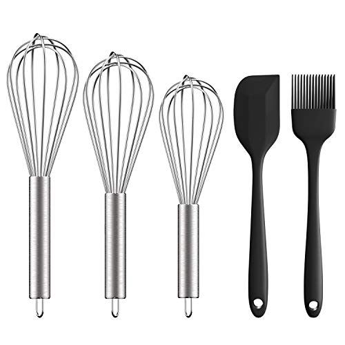 Stainless Steel Whisk 8'+10'+12', Ouddy 5 Pack Wire Whisk Set Wisk Kitchen Tool for Cooking, Blending, Whisking, Beating, Stirring with Silicone Spatula & Silicone Brush