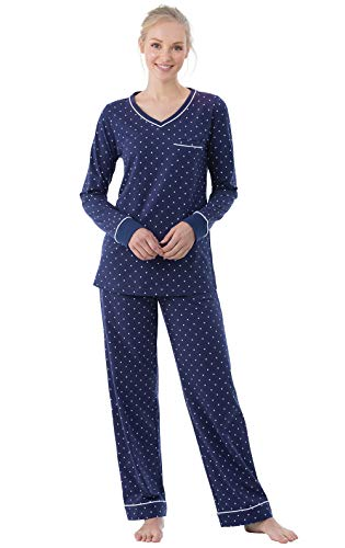 PajamaGram Cotton Pajamas for Women - Womens PJ Sets, Pullover, Navy, M, 8-10