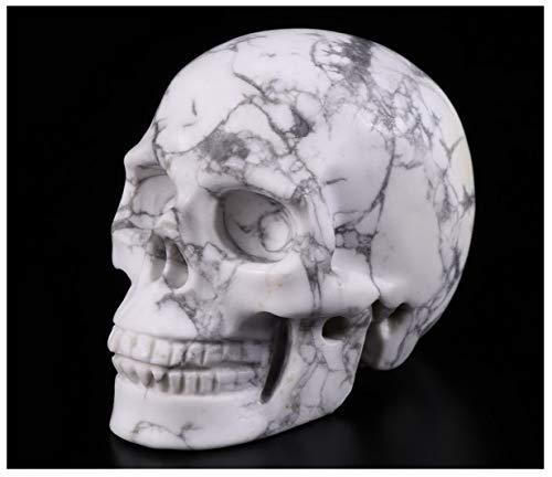 "Skullis 2.0"" Howlite Crystal Skull, Hand Carved Gemstone Fine Art Sculpture, Reiki Healing Stone Statue."