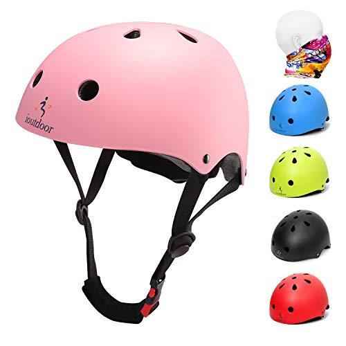 iOutdoor Fahrradhelm CE CPSC für Kinder Kleinkinder Jungen Mädchen im Alter von 3 bis 13 Jahren, Sicherheitsfahrradhelm, verstellbar, leicht, zum Radfahren, Roller, Skateboard, Pink, L