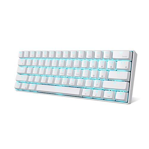 RK ROYAL KLUDGE RK61-US Kabellose 60% mechanische Gaming-Tastatur, ultra-kompakte Bluetooth-Tastatur mit taktilen Blauen Schaltern, Kompatibel mit Multiplen Geräten, Weiß