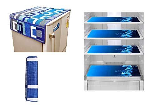 Goel Home Decor (Make in India) Decorative Combo Pack of 1 Waterproof Refrigerator Top Cover(Blue Box), 1 Handle Cover(Blue Box) and 4 Refrigerator Drawer Mats(Blue Flower) (Blue Box 114)