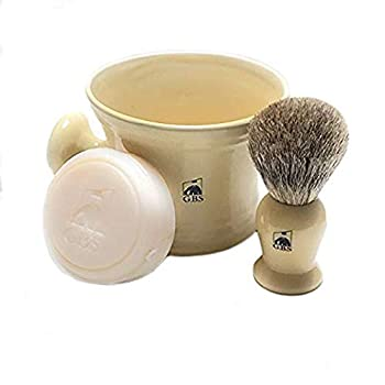 GBS Men s Shaving Set Ivory - 3 Piece set - Pure Badger Hair Brush Ceramic Mug & 97% All Natural Shave Soap Compliments any Shaving Razor For The Best Shave Great Grooming Gift Christmas
