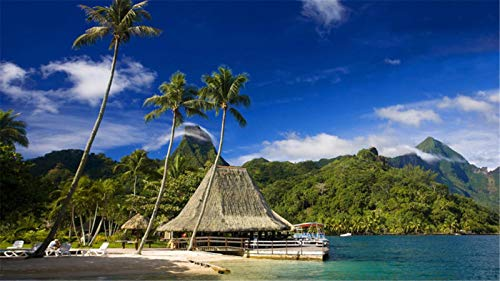 5D Diamante Pintura Arte Juego Completo De Taladros, Isla De Tahití Océano Pacífico Tropical Diamante Pintura Punto De Cruz Kits Decoración De La Habitación Del Hogar 30x40cm