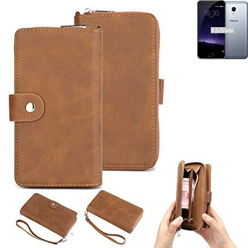 K-S-Trade Handy-Schutz-Hülle Für Meizu MX6 Portemonnee Tasche Wallet-Hülle Bookstyle-Etui Braun (1x)