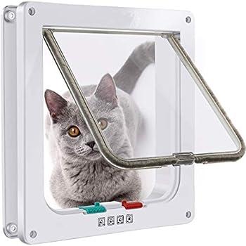 FayTun Chatière de porte pour chat - Verrouillable - 4 positions - Résistant aux intempéries - Avec rabat magnétique et automatique - Pour chats adultes et petits chiens