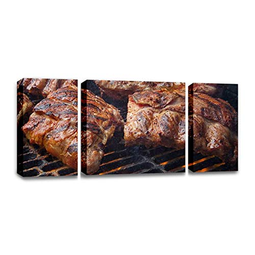 CCArtist barbecued Pork Baby Back Ribs on Fiery Charcoal Grill bbqs and Wall Decor Print on Canvas Modern Artwork Living Room Bedroom Painting Art Wall