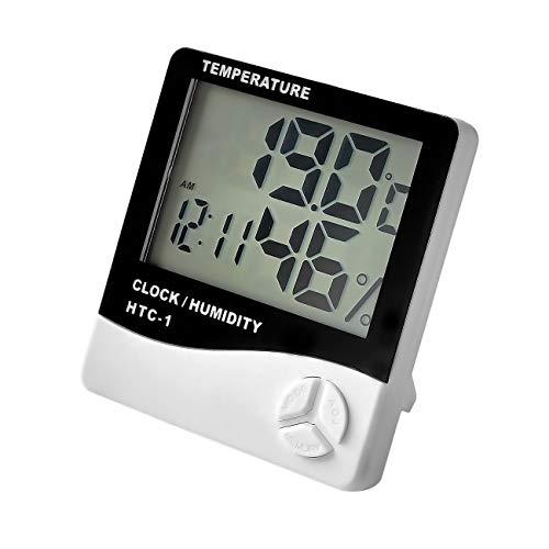 Termohigrometro Digital, LCD Termometro y Humedad Medidor Interior, para Casa, Dormitorio, Oficina, Almacén, Cocina, Invernadero Ambiental, Bodega