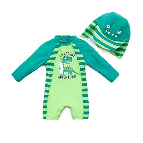 BONVERANO Baby Junge EIN stück Langärmelige-Kleidung UV-Schutz 50+ Badeanzug MIT Einem Reißverschluss, Grüne-dinosaurier, 80-86