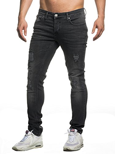 Tazzio Slim Fit Herren Destroyed Look Stretch Jeans Hose Denim 16525, Schwarz, 33W/34L