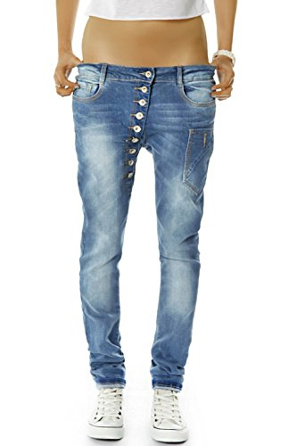 bestyledberlin Damen Boyfriend Jeans Baggy Style Damenjeans Skinny Fit Hose Knopfleiste j02kw 38/M