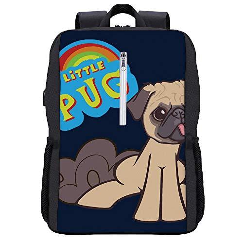 My Little Pony My Little Pug Parodie Rucksack Daypack Bookbag Laptop Schultasche mit USB-Ladeanschluss