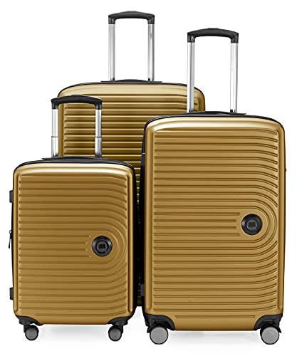 HAUPTSTADTKOFFER - MITTE - Juego de 3 Maletas - Equipaje de Cabina con Ruedas de 55 cm, Trolley de tamaño Mediano de 68 cm + Maleta Grande de 77 cm, ABS, Combinación TSA, Oro de otoño
