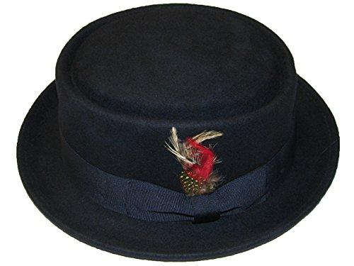 Chapeau mou avec plumes et bandeau décoratifs Unisexe 100 % laine Fait à la main - - bleu marine, XL
