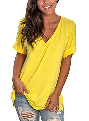 UMIPUBO Bluas de Mujer Camisa Escote en V Algodón Blusa Mujer Elegante Manga Corta Camisa Suelta Mujer Casual Verano T Shirts Jersey Camisetas Tops