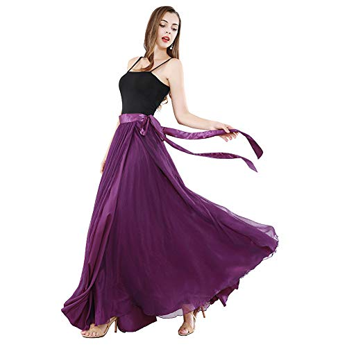 ROYAL SMEELA Vestito di Danza del Ventre Top Gonne Moderne da Ballo Nero Top con Spalline Sottili Flamenco Gonna Lunga Avvolgente Top Casual Retro antichità Doppio Strato Gonna