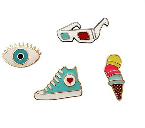 iTemer Broches de bisuteria para ropa y zapatos Pin para solapa Una obra de arte con estilo Multicolor Calzado deportivo Gafas Helado 4 piezas