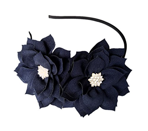 Fascinator Headband Hair Clip Lotus Flower Bridal Headpieces Wedding Party Cocktail Headwear (Navy Blue)