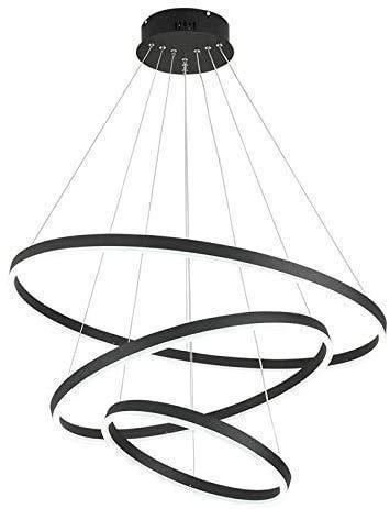 ring light 80 cm N/Z Home Equipment 3 Ring Chandelier LED 84W 6800 LM Round Teardrop Pendant Light Adjustable Indoor Ceiling Light for Bedroom Restaurant Living Room-40 + 60 + 80cm Cool White