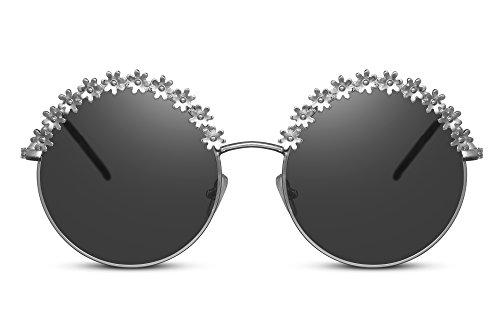 Cheapass Sonnenbrille Rund Groß Silber Grau UV-400 Oversized XXL Runde Designer-Brille Flower-Power Festival-Accessoire Metall Frauen Damen Mädchen