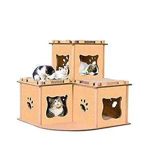 【RAKU】キャットハウス つめとぎ キャットタワー お昼寝台 猫用品 ベッド ダンボール 四部屋型 多用途 組み立て式 ストレス解消 運動不足改善 耐久性 耐磨耗性 大型猫 (4部屋)