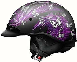 Zoan Ladies Route 66 Butterfly Black Purple DOT Motorcycle Half Helmet 2X-Large