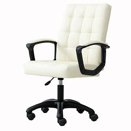 YLLN Home Office Schreibtischstuhl Moderner, einfacher Computerstuhl PU-Kunstleder Bequem und atmungsaktiv Höhenverstellbar Lagergewicht 150 kg (Farbe: Beige)