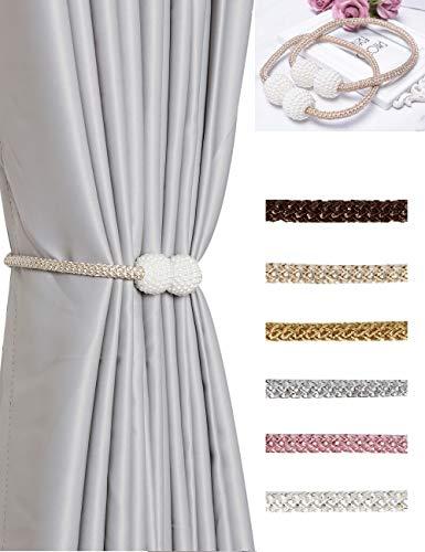 HoHnH - Alzapaños magnéticos para cortinas, color perla