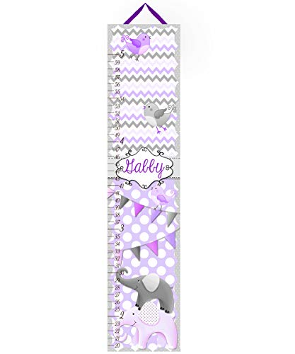 Canvas Growth Chart Purple and Grey All Creatures Big and Small Girls Bedroom Baby Nursery Wall Art GC0037