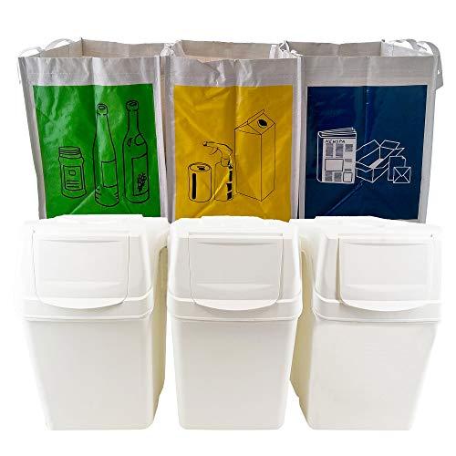 Wellhome Prosperplast Juego de 3 cubos capacidad de 60 litros en color blanco 39x23x33 cm con 3 bolsas de reciclaje para exterior, 60 + 75 litros totales