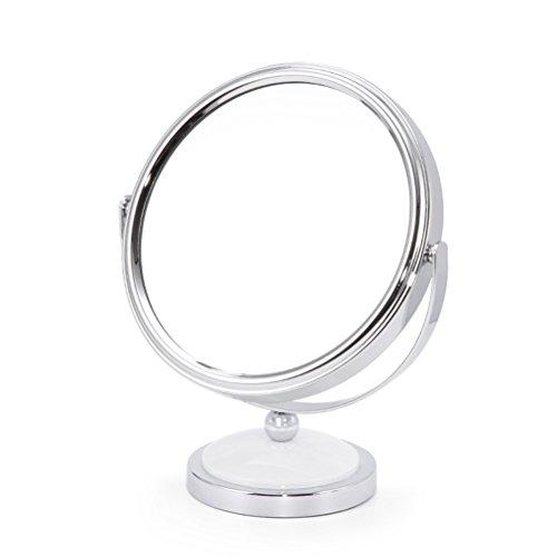 Frcolor Miroir de maquillage de table double face 2X Agrandir, Miroir de coiffeuse sur pied avec rotation à 360 ° (blanc)