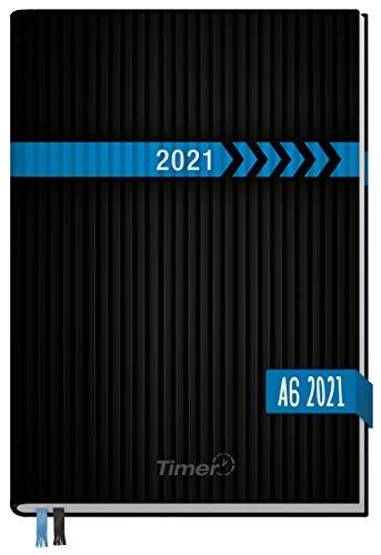Chäff-Timer Mini A6 Kalender 2021 [Schwarz-Blau] mit 1 Woche auf 2 Seiten | Terminplaner, Wochenkalender, Organizer, Terminkalender mit Wochenplaner | nachhaltig & klimaneutral