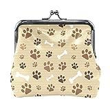 BGHYT Brown Dog Footprints Bones Monedero Retro Money Pouch con Cerradura Hebilla Monedero Bolso Titular de la Tarjeta para Mujeres y niñas