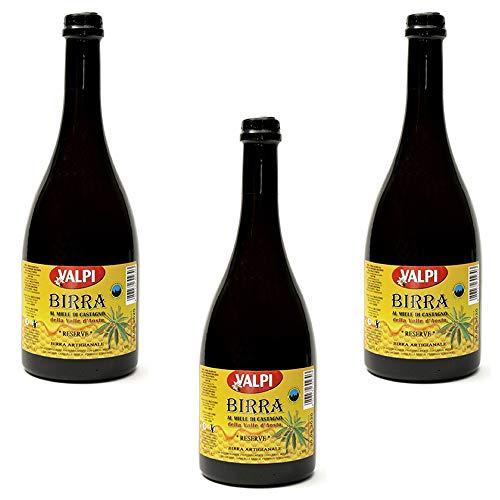 """Birra al miele di castagno 750 ml """"reserve"""" prodotta in Valle d'Aosta - confezione 3 bottiglie"""