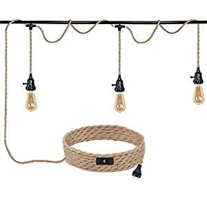 Triple Pendant Light Cord Kit Plug in with Switch,22FT Hemp Rope with E26 Socket Hanging Lighting Fixture,P038C3