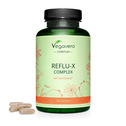 Reflux Complex Vegavero | No Artificial Additives | Mix of Prickly Pear Cactus + Olive Leave + Chamomile + Mallow Extracts & Sodium Alginate | 120 Capsules | Vegan