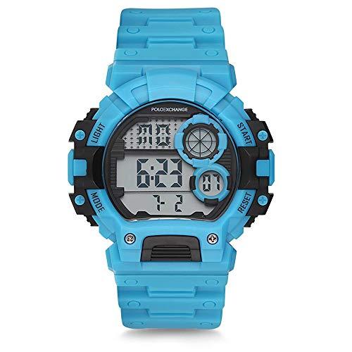 Polo Exchange PX-DR335G-03 Herren-Digitalarmbanduhr, 44 mm PVC-Gehäuse, Datumsanzeige, Blaue Sportarmbanduhr, 3 ATM wasserdicht, Mineralglas