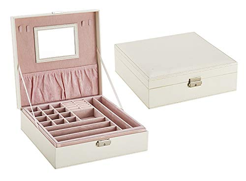 KEEBON Elegant Outlook Jewelry Box + Simple Jewelry Box Leather Medium Jewelry Organizer Vintage Gift For Women (Color : Pink, Size : Free size) (Color : A, Size : Free size)