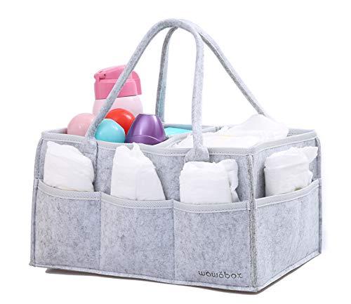 wawabox Windel Caddy Organizer - Baby Geschenke Windel Caddy, Kinderzimmer Bin mit abnehmbaren Trennwand, Filz Aufbewahrungs Caddy für Neugeborene, große Windel Organizer Tote, Grau